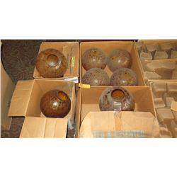 """Misc. Ceiling Light Globes - Amber Crackle Glass, Approx. 8.5"""" Tall"""