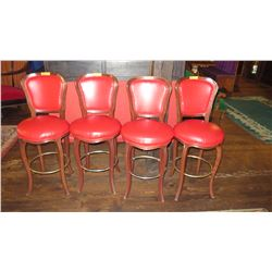 """Qty 4 Bar Height Chairs - Upholstered, Red, Wood Frame (46""""H)"""
