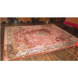"""Large Area Rug - Red, Beige, Dark Blue Outer Border (119""""L x 156""""W)"""