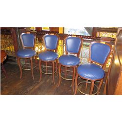 """Qty 4 Bar Height Chairs - Upholstered, Blue, Wood Frame (46""""H)"""