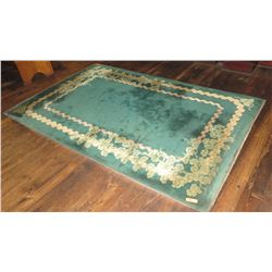 """Large Area Rug - Green w/Floral Garland Border (111.5"""" x  72.5"""")"""