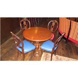 """Round Hardwood Table w/Carved Base, 4 Carved Wood Chairs (37.5"""")"""