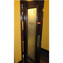 """Dark Wooden Door w/Frosted Glass Panel - Hinged Left (28""""L x 81""""H)"""
