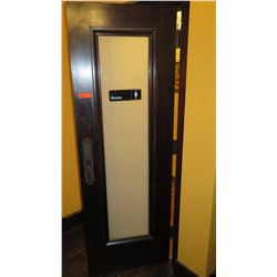 """Dark Wooden Door w/Frosted Glass Panel - Hinged Right (28""""L x 81""""H)"""