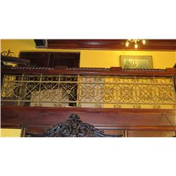 "1-Piece Wrought Iron Scrollwork Railing Accent - Section Measures (121.5""L x 24.5""W)"