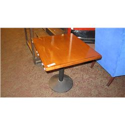 "Square Hardwood Table w/ Metal Base (30.5""L x 27.5""W)"