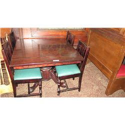 Square Hardwood Table (42x42) w/Carved Pedestal Base & Clawfoot Detail, 4 Chairs