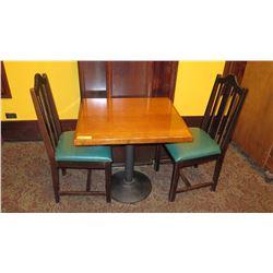 Rectangular Hardwood Table (30 x 27) w/Round Metal Base and 2 Chairs