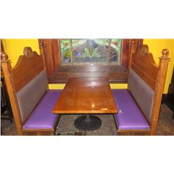 "Rectangular Hardwood Table w/Round Metal Base (60.5""L x 35.5""W) and 2 Wood-Framed Banquette Seats"