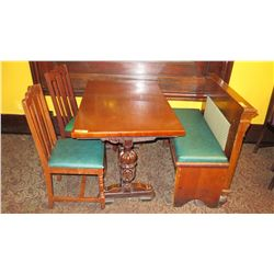 "Rectangular Hardwood Table (47x30) w/Carved Pedestal Base, 2 Chairs, 1 Banquette (37"")"