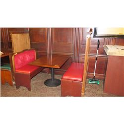 "Rectangular Hardwood Table w/Round Metal Base (45.5""L x 30.5""W), with Red Banquette Seats (39""H & 60"