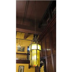 "Moroccan Yellow Chandelier (53""H) - Greenish Tint, Comes w/5-ft Chain"