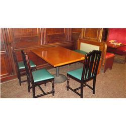 "Rectangular Hardwood Table w/Round Metal Base (50""L x 36""W), 3 Chairs, 1 Banquette Seat"