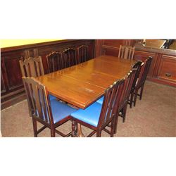 "Long Rectangular Hardwood Dining Table w/ 10 Chairs (42""L x 90.5""W)"