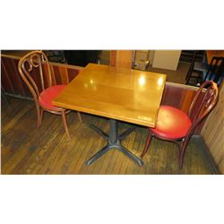 "Rectangular Hardwood Table w/Metal Base (27""L x 30""W), 2 Chairs (32.5""H), Round Seats"