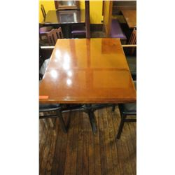 "Rectangular Hardwood Table w/Metal Base  40x30x27.5""H"