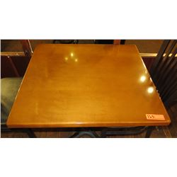 "Rectangular Hardwood Table w/Metal Base 30x27x27.5""H"