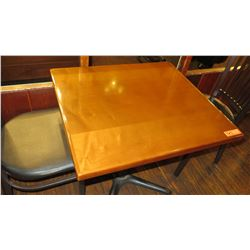 "Rectangular Hardwood Table w/Metal Base 30 x 27 x 27.5""H"