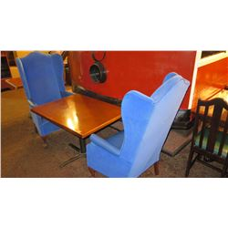"Rectangular Hardwood Table w/Metal Base, 40 x 30 x 27.5""H and 2 Blue Wing Chairs 50.5"" H"