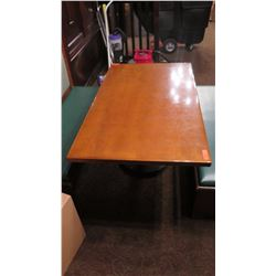 Rectangular Hardwood Table (60 x 35.5) w/Round Metal Base
