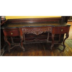 Contoured Antique Console Table w/ Granite/Marble Top, Scroll Detail, Cabriolet Legs,