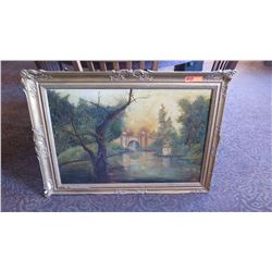 Framed Original Oil Painting on Canvas: Architectural Bridge/River/Woodland Scene 40x30