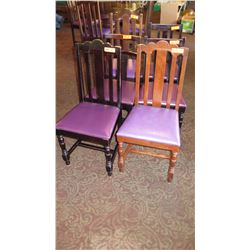 "Qty 6 Wooden Chairs (All Have Purple Seats But Varying Styles) 38.5""H and 36""H"