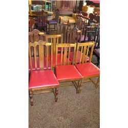 "Qty 7 Wooden Chairs (All Have Red Seats But Varying Styles) 41"" H & 36"" H"