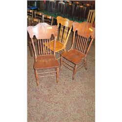 "Qty 3 Wooden Chairs (1 is a different style) 42"" H & 49"" H"