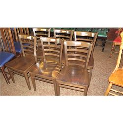 "Qty 6 Matching Wooden Chairs - Curved Back, Dark Tone, 33.5"" H"