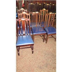 "Qty 7 Wooden Chairs (All Have Blue Seats But Varying Styles) 41"" H & 36"" H"