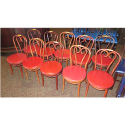 "Qty 10 Matching Chairs - Rounded Seats, Scroll-Back, 33"" H"