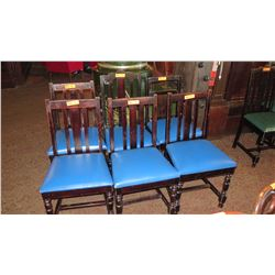 "Qty 6 Wooden Chairs (All with Blue Seats But Varying Styles) 36"" H & 40"" H"