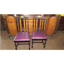"Qty 2 Matching Wooden Chairs - Fuschia Seats, Hi-Back 40"" H"