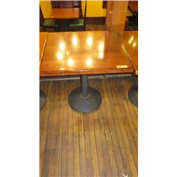 Square Hardwood Table w/ Round Metal Base