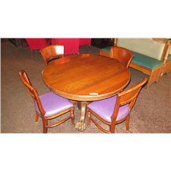 "Round Hardwood Table 47"" dia, Carved Pedestal Base, Clawfoot Detail, 4 Curved-Back Chairs"