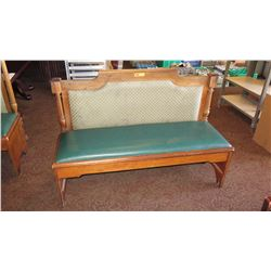 """Wooden Banquette Seat w/ Padded Seat & Backrest - 58""""L x 21""""W x 39.5"""" H"""