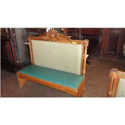"""Wooden Banquette Seat w/ Padded Seat & Backrest, Carved Detail - 58""""L x 21""""W x 54"""" H"""