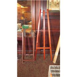 "Artist Easel (Menu Board Holder) 64.5""H, Two Folding Serving Tray Holders 40""H"