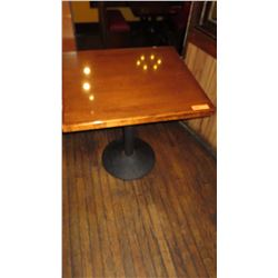 "Square Hardwood Table w/ Round Metal Base 27 x 30 x 30""H"