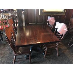"Square Hardwood Table (42 x 42) w/Carved Pedestal Base, Clawfoot Detail, 4 Chairs 41.5""H (just added"