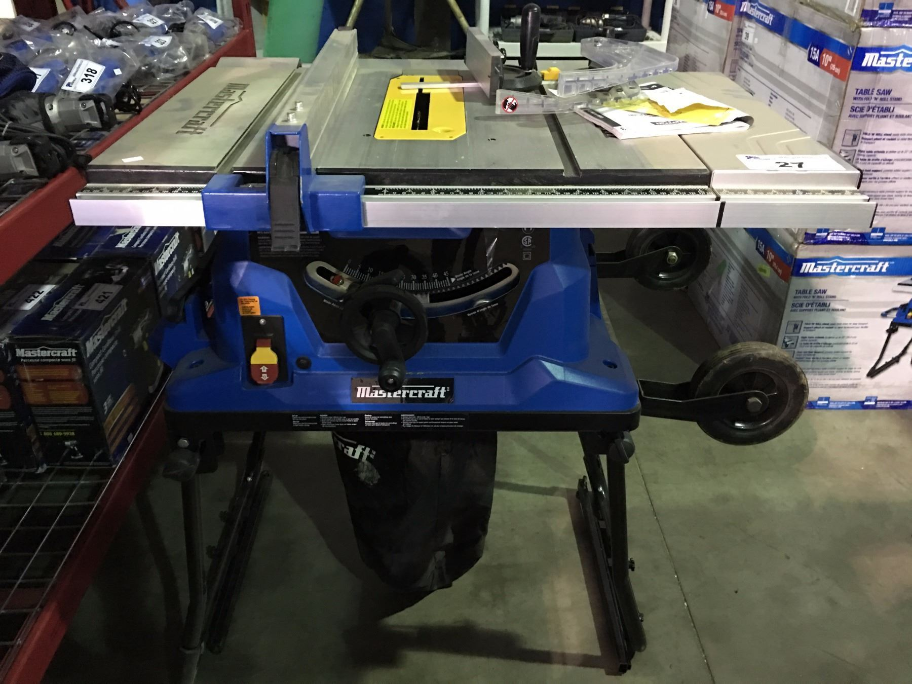 Mastercraft 1015amp table saw with fold roll stand image 1 mastercraft 1015amp table saw with fold roll stand greentooth Choice Image