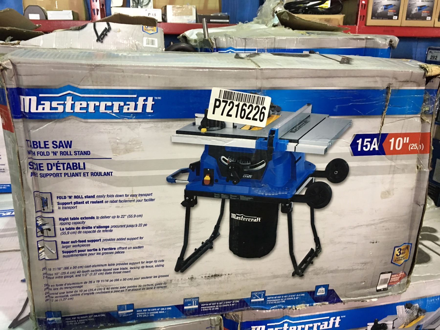 Mastercraft 1015 amp table saw with fold roll stand image 1 mastercraft 1015 amp table saw with fold roll stand greentooth Choice Image