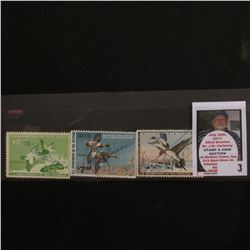1957 RW24, 1962 RW29, & 1980 RW47 Federal Migratory Bird Hunting Stamps, all signed.