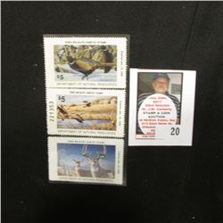 1991, 1994, & 1997  Iowa Wildlife Habitat Stamps, Mint condition, unsigned.