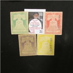World War II 1942 $2.09, 1943 $5, 1944 $5, & 1945 $5 Federal Use Tax on Motor Vehicles Stamps. All f