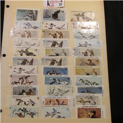 A large group of over 30 Iowa Migratory Waterfowl Hunting Stamps, all have been used and signed.