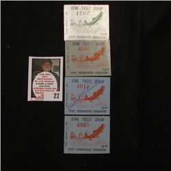 1966 unsigned, (2) 1968 signed & unsigned, & 1969 unsigned  Iowa Trout Stamps. Both mint VF conditio