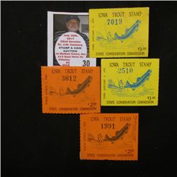 1964 Signed & unsigned, (2) 1970 unsigned Iowa Trout Stamps.