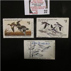 1978, 79, 83 Iowa Migratory Waterfowl Stamps, all signed and used.